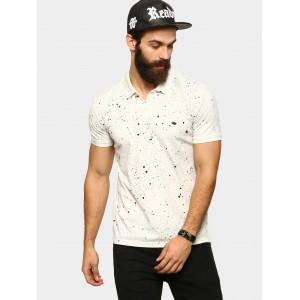 abof Men White Printed Slim Fit Polo T-shirt