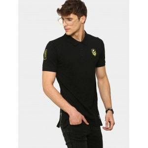 Kultprit Men Black Badge Patch Slim Fit Polo T-shirt