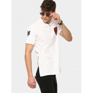 Kultprit Men White Badge Patch Slim Fit Polo T-shirt