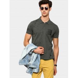 abof Men Dark Grey Splatter Print Slim Fit Polo T-shirt