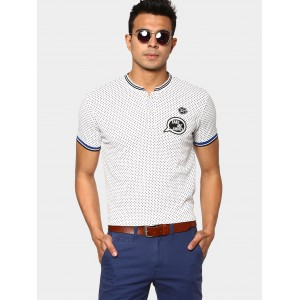 abof Men White Printed Badge Patch Slim Fit Polo T-shirt
