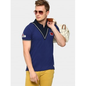 abof Men Blue Badge Patch Slim Fit Twofer Polo T-shirt