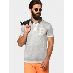 abof Men Grey Reverse Spray Slim Fit Polo T-shirt