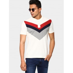abof Men White Slim Fit Polo T-shirt