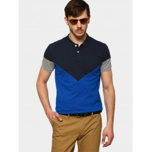 abof Men Blue Regular Fit Polo T-shirt