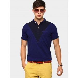 abof Men Indigo Blue Slim Fit Polo T-shirt