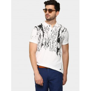 abof Men White Distress Print Slim Fit Polo T-shirt