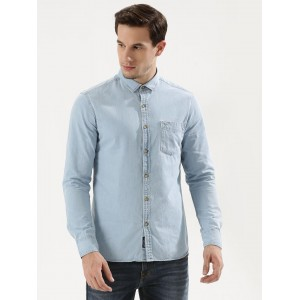 Flying Machine Light Blue Solid Denim Shirt