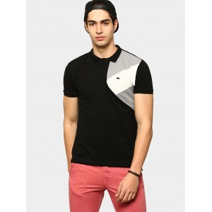 abof Men Black Slim Fit Polo T-shirt