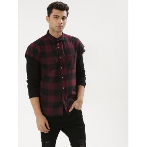 KOOVS  Raw Edge Cap Sleeve Black & Maroon Shirt