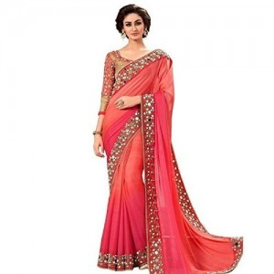 Shiroya Brothers Red Georgette New Collection Party wearSarees