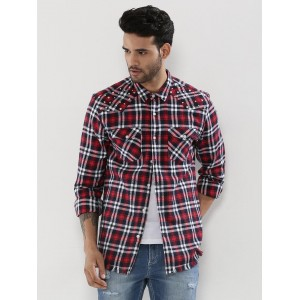 KOOVS  Frayed Hem Flannel Check Shirt With Studs