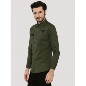 Spring Break  Military Twill Shirt With Twin Pockets