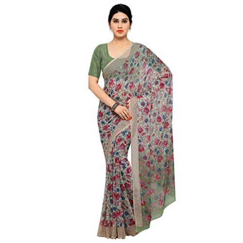 df24aaa3494276 Buy Vaamsi Chiffon Saree (Empress1054 Multi-Coloured) online ...