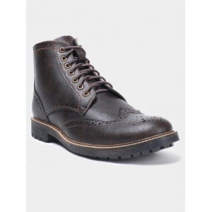abof Men Dark Brown Brogue Boots
