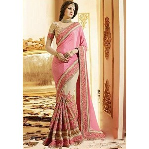Indian E Fashion Women's Pink Georgette & Net Saree