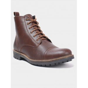 abof Men Dark Brown Textured Boots