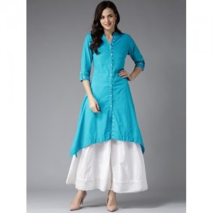 HERE&NOW Blue Solid A-Line Asymmetric Kurta