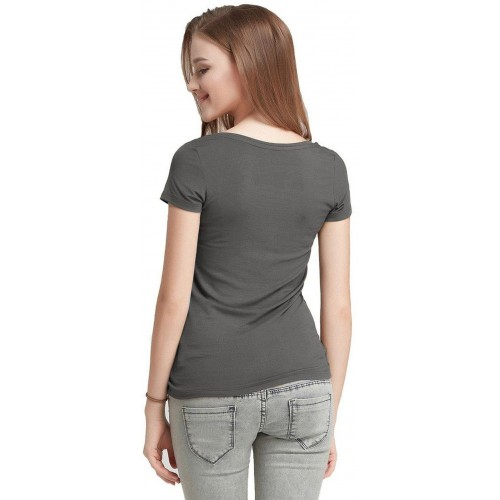 Fashion Line Casual Short Sleeve Solid Women's Grey Top