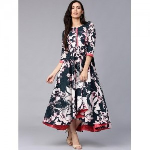Rain & Rainbow Navy Blue Printed High Low Kurti