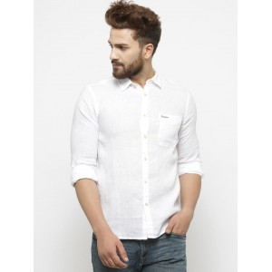 Pepe Jeans Men White Solid Casual Shirt