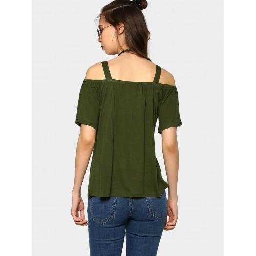 fc5d189938f2d5 Buy abof Women Olive Green Liva Regular Fit Cold Shoulder Top online ...