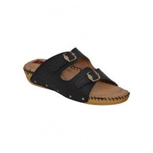 1 WALK black faux leather slippers