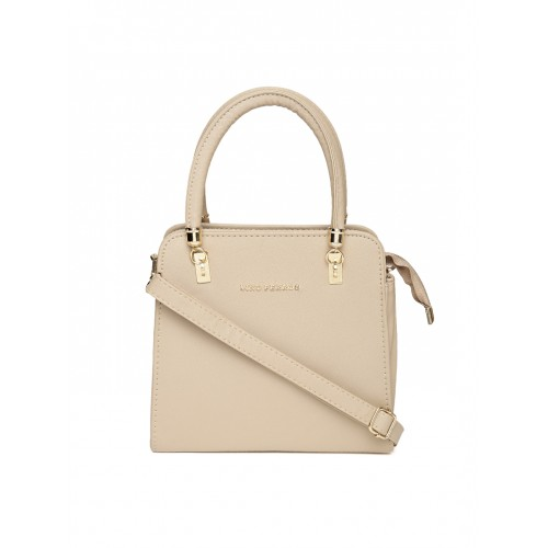 294153d3be2 ... Lisa Haydon for Lino Perros Beige Solid Handheld Bag with Sling Strap  ...