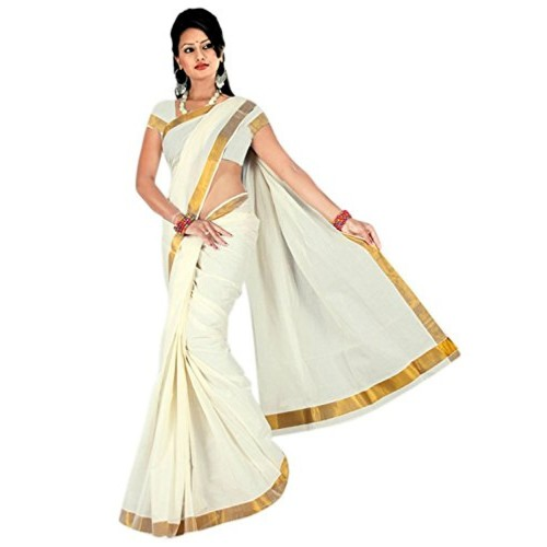 Maxis Off-White Cotton Saree