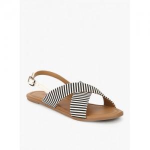 Lavie Black Striped Sandals