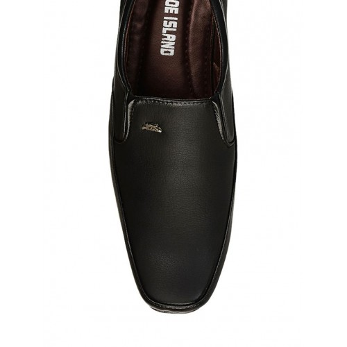 Shoe Island black formal leatherette slip on