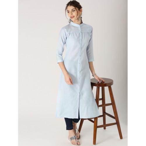 Libas Blue Cotton Solid Straight Kurta
