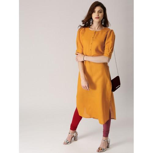 780a85dee Buy Libas Women Mustard Yellow Solid Straight Kurta online