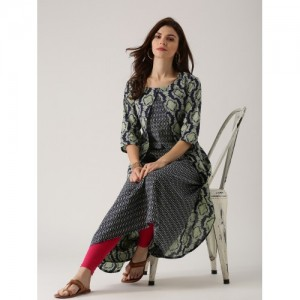 Libas Women Navy & Green Printed Layered A-Line Kurta