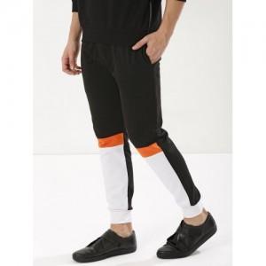 Blotch Black & White Polyester Blend Contrast Panel Joggers