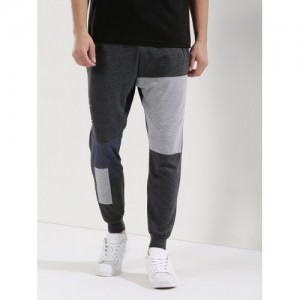 Spring Break Gray Cotton Solid Patchwork Joggers
