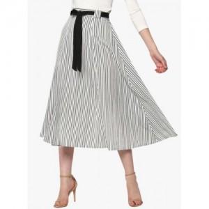 Sassafras Off White Striped Flared Skirt