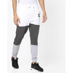 Garcon Gray & White Terry Cotton Panelled Joggers