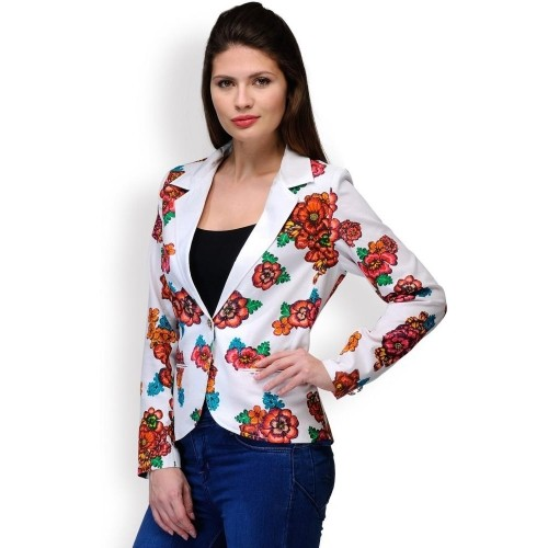 Purplicious Floral Print Single Breasted Casual Women's Off White Blazer