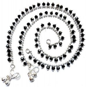 Taj Jewels Drop Black Crystal Anklet for Women.