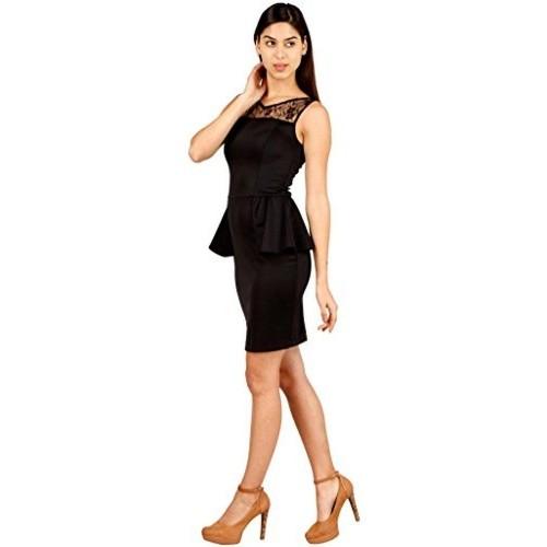Hermosear Black Peplum Sleeveless Dress