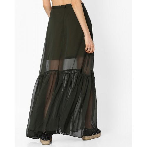 MDS Olive Green Polyester Sheer Maxi Skirt with Pleats