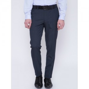 Black Coffee Navy Blue Sharp Fit Formal Trousers