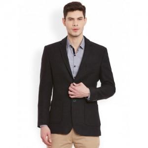 Envoy Charcoal Grey Single-Breasted Slim Fit Semiformal Blazer