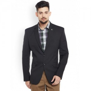 Canary London Black Checked Slim Fit Single-Breasted Blazer