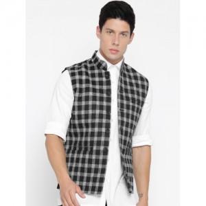 Fort Collins Black & White Checked Nehru Jacket
