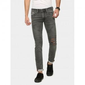 abof Grey Cotton Lycra Skinny Fit Ripped Panel Jeans
