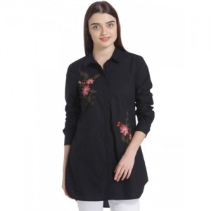 Vero Moda Women Black Regular Fit Embroidered Detail Casual Shirt