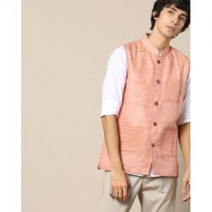 VIVID INDIA PeachTextured Nehru Jacket with Wooden Buttons