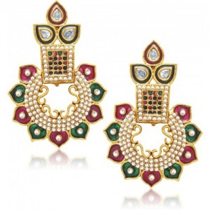 Divastri Pink And Green Exuberant Drop Alloy Drop Earring
